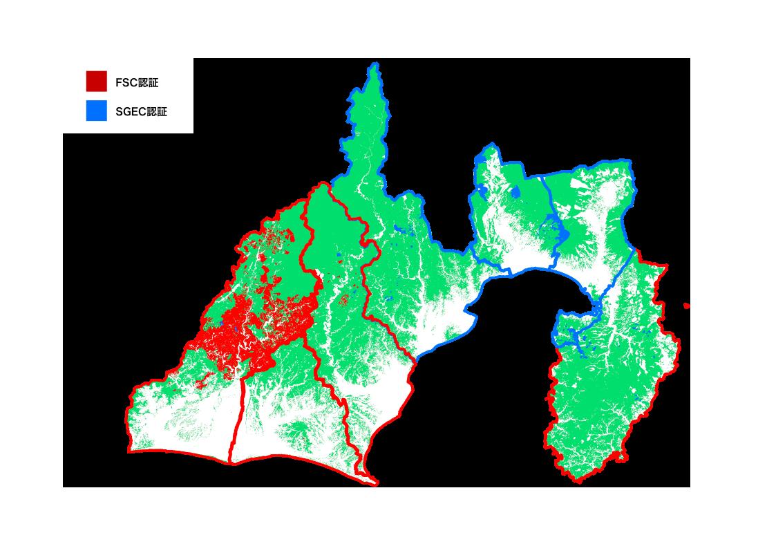 静岡県 森林認証マップ